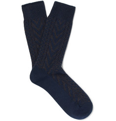 Mr P. Chevron Mélange Cotton-Blend Socks