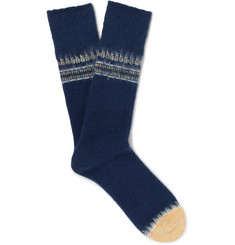 Mr P. Striped Textured-Knit Socks