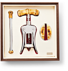 Lorenzi Milano - Bamboo And Chrome-Plated Wine Set