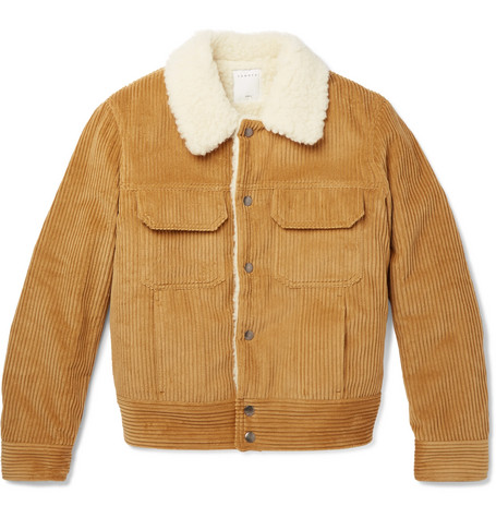 Faux Shearling Lined Cotton Corduroy Jacket by Sandro