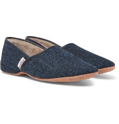 Derek Rose Crawford Shearling-Lined Harris Tweed Slippers