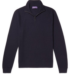 Ralph Lauren Purple Label Waffle-Knit Merino Wool and Cashmere-Blend Half-Zip Sweater
