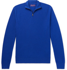 Ralph Lauren Purple Label Slim-Fit Wool and Cashmere-Blend Piqué Half-Zip Sweater