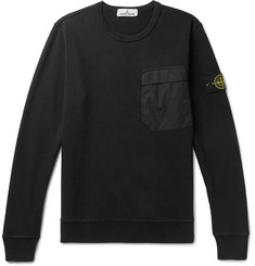 Stone Island Shell-Trimmed Loopback Cotton-Jersey Sweatshirt