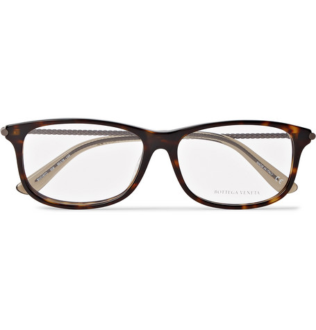 BOTTEGA VENETA SQUARE-FRAME TORTOISESHELL ACETATE AND GUNMETAL-TONE OPTICAL GLASSES