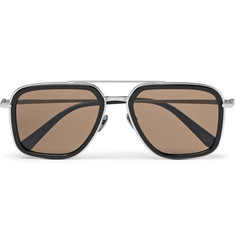 Brioni - Aviator-Style Acetate and Brushed Silver-Tone Sunglasses