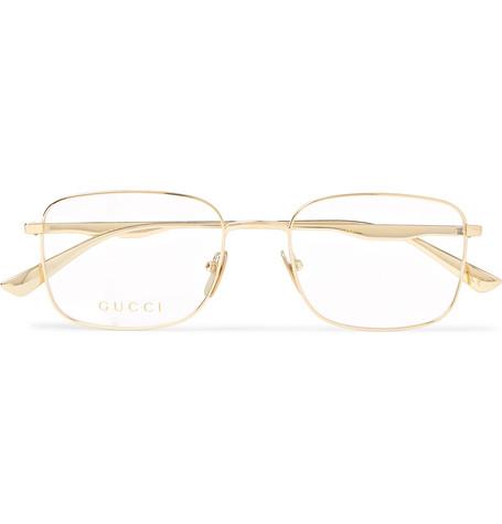 2fb705c520b Gucci Square-Frame Gold-Tone Optical Glasses