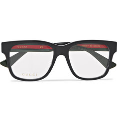 Gucci Square-Frame Striped Acetate Optical Glasses
