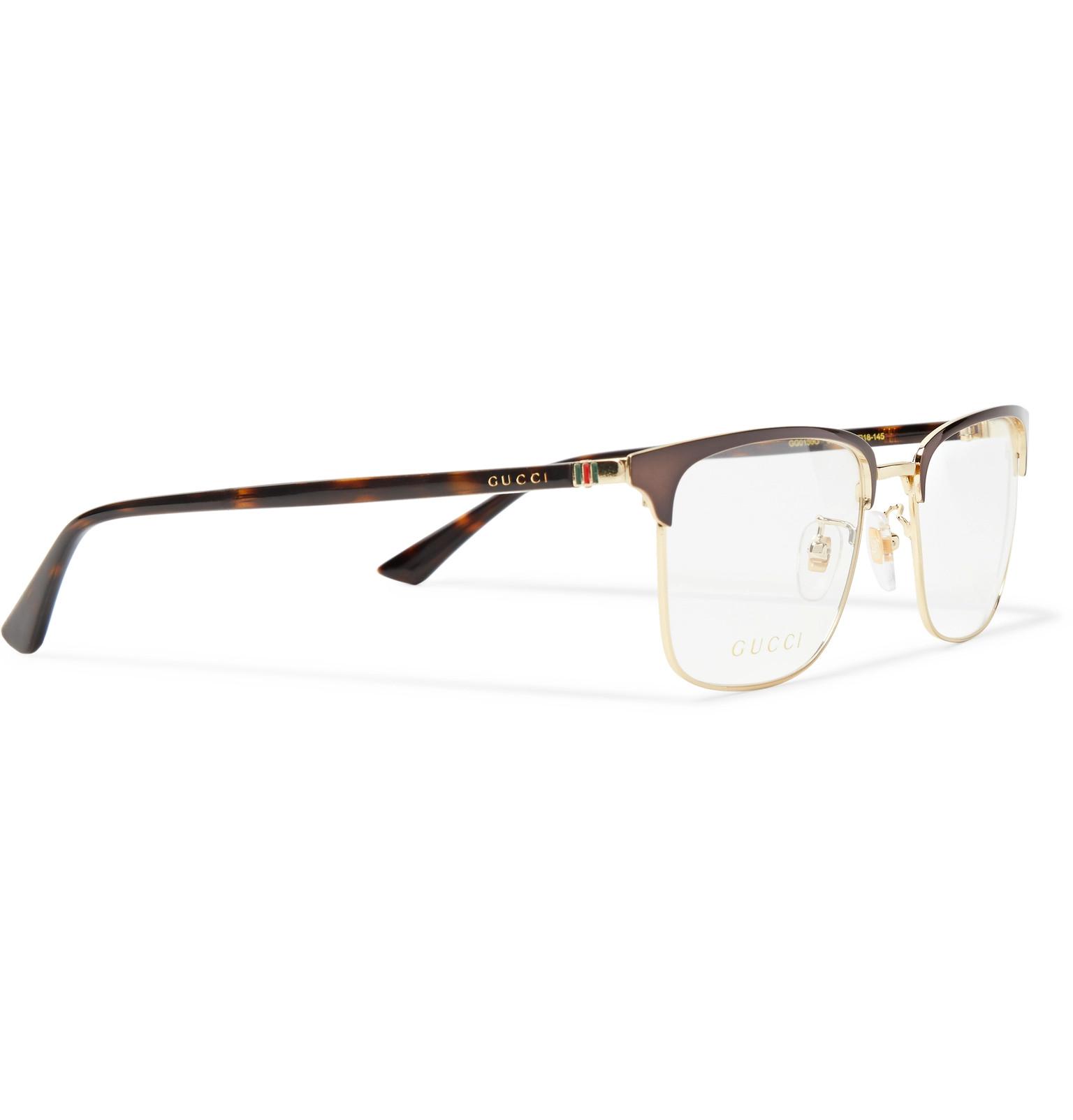 cd644d7d89 Gucci - Square-Frame Tortoiseshell Acetate and Gold-Tone Optical Glasses