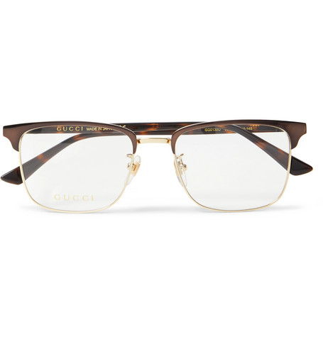 b3f14db4dd GucciSquare-Frame Tortoiseshell Acetate and Gold-Tone Optical Glasses