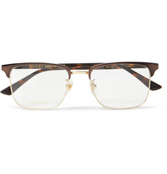 Gucci - Square-Frame Tortoishell Acetate and Gold-Tone Optical Glasses