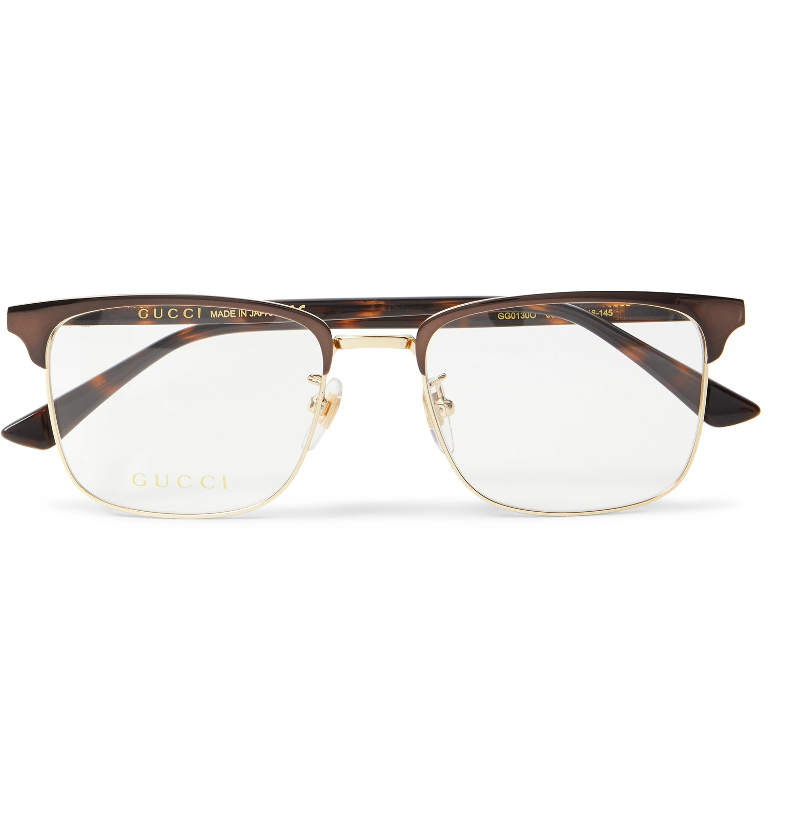 6afe135415 GucciSquare-Frame Tortoiseshell Acetate and Gold-Tone Optical Glasses