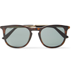 Gucci Round-Frame Tortoiseshell Acetate and Gold-Tone Sunglasses