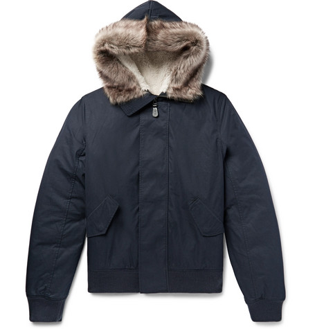 Shearling Trimmed Cotton Blend Shell Hooded Jacket by Yves Salomon