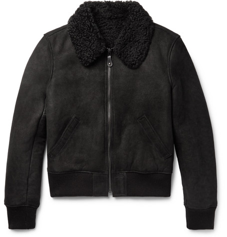 Slim Fit Shearling Bomber Jacket by Yves Salomon