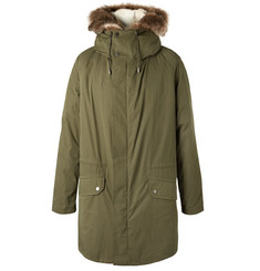 Yves Salomon Faux Fur-Trimmed Cotton-Blend Hooded Down Parka with Detachable Shearling Lining