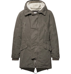 Yves Salomon Shearling-Trimmed Cotton Hooded Parka with Detachable Down Lining