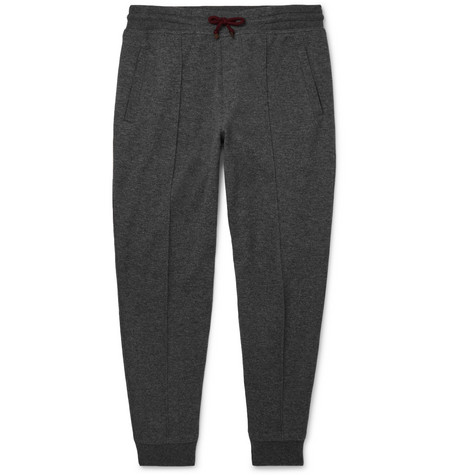 Brunello Cucinelli Tapered Cashmere-Blend Jersey Sweatpants In Gray