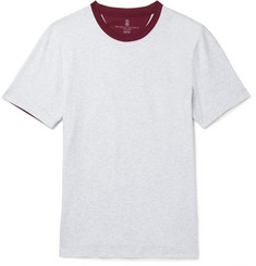 Brunello Cucinelli Slim-Fit Two-Tone Mélange Cotton-Jersey T-Shirt
