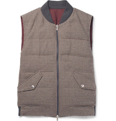 Brunello Cucinelli - Reversible Houndstooth Wool and Cashmere-Blend Quilted Down Gilet
