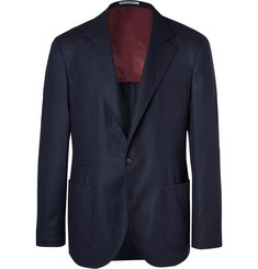 Brunello Cucinelli Navy Unstructured Wool, Silk and Cashmere-Blend Blazer