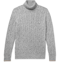 Brunello Cucinelli Contrast-Tipped Mélange Cable-Knit Rollneck Sweater