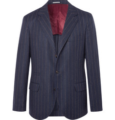 Brunello Cucinelli Navy Chalk-Striped Wool Suit Jacket