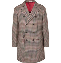 Brunello Cucinelli Double-Breasted Houndstooth Wool and Cashmere-Blend Coat