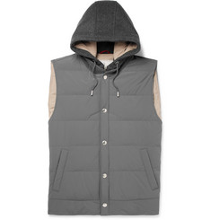 Brunello Cucinelli Quilted Shell and Cashmere Hooded Down Gilet