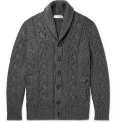 Brunello Cucinelli Shawl-Collar Cable-Knit Cashmere Cardigan