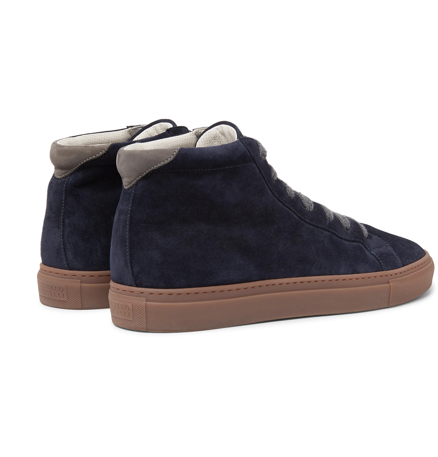 Suede Nubuck Top High Cucinelli Brunello Trimmed Sneakers wRqfp58