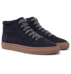 Brunello Cucinelli - Nubuck-Trimmed Suede High-Top Sneakers