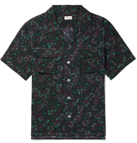 YOU AS Arlo Camp-Collar Printed Gauze Shirt - Navy