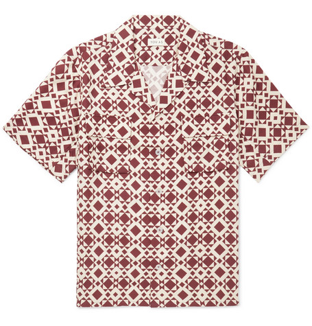 YOU AS Arlo Camp-Collar Printed Twill Shirt - Red