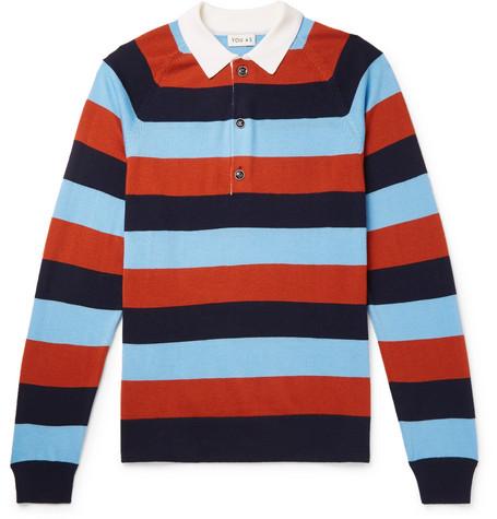YOU AS Marco Striped Merino Wool Polo Shirt - Multi