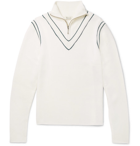 YOU AS Archer Stripe-Trimmed Wool Half-Zip Sweater - White
