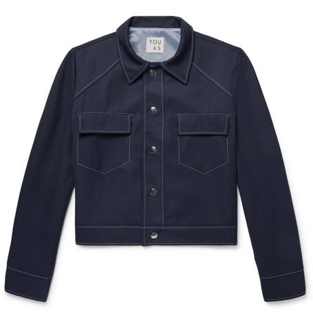 YOU AS Wylie Gabardine Jacket - Midnight Blue