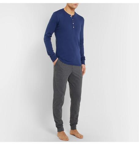 Karl Heinz Slim Fit Garment Dyed Cotton Jersey Henley T Shirt by Schiesser
