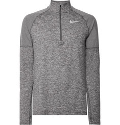 Nike Running Element Rib-Panelled Mélange Dri-FIT Half-Zip Top