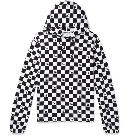 Checkerboard Loopback Cotton-jersey Hoodie
