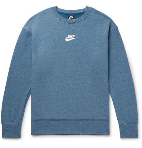 Sportswear Heritage Mélange Loopback Cotton Blend Jersey Sweatshirt by Nike