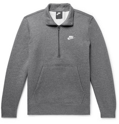 Nike Sportswear Mélange Fleece-Back Cotton-Blend Half-Zip Sweatshirt