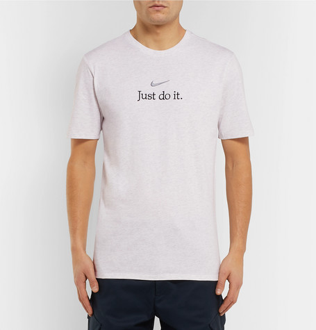 Logo Embroidered Mélange Cotton Jersey T Shirt by Nike
