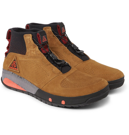 def05f27979a Nike Acg Ruckel Ridge Perforated Suede And Flyknit Sneakers - Tan ...