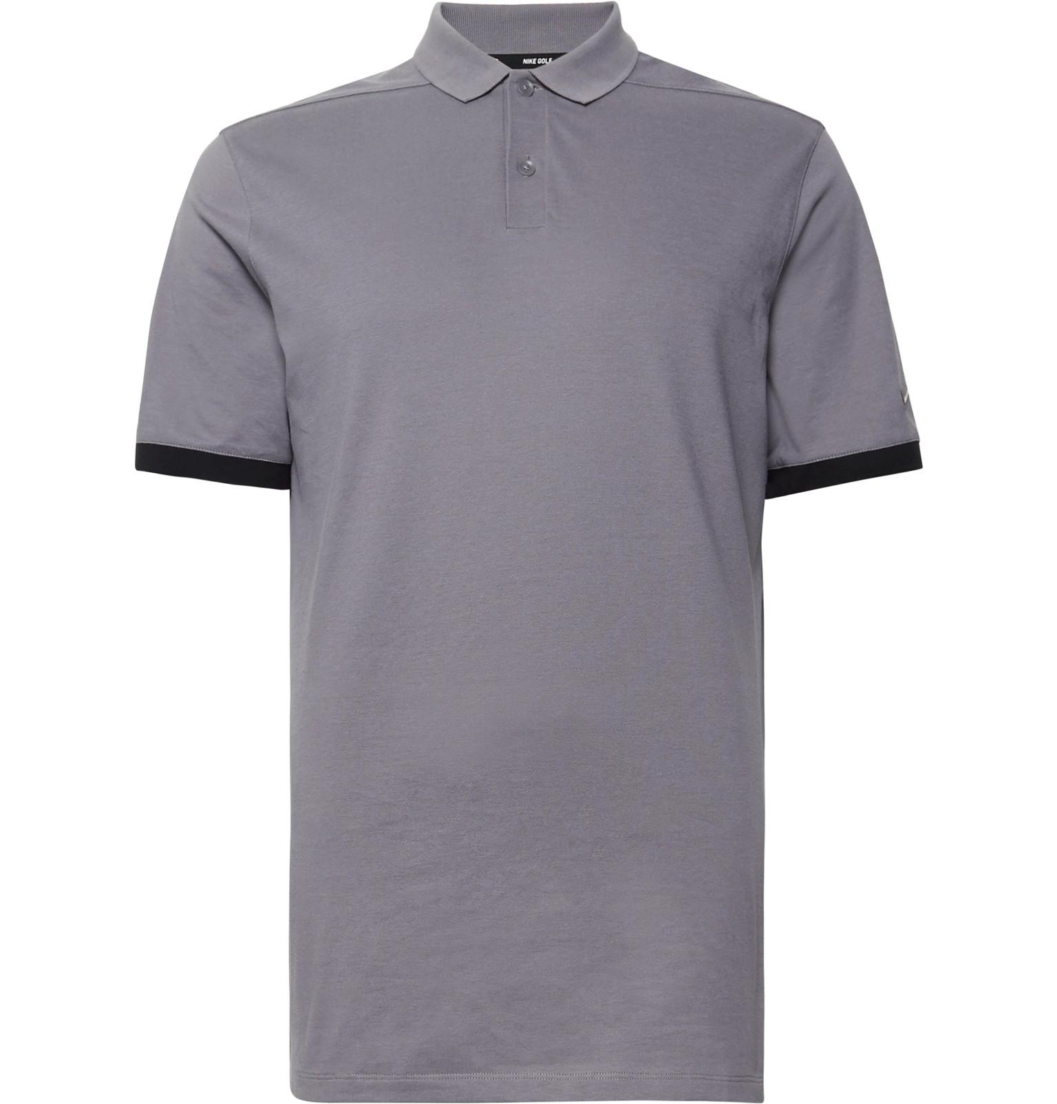 Nike Golf Contrast Trimmed Dri Fit Piqu Golf Polo Shirt