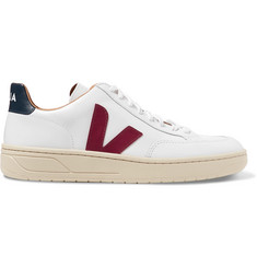 Veja V-12 Bastille Rubber-Trimmed Leather Sneakers