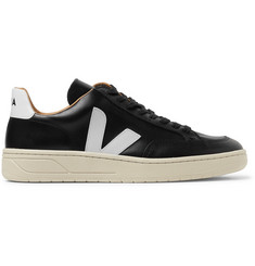 Veja V-10 Bastille Rubber-Trimmed Leather Sneakers