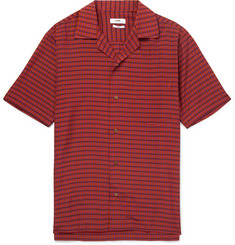 CMMN SWDN Duncan Camp-Collar Checked Voile Shirt