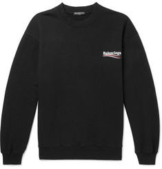 Balenciaga Printed Fleece-Back Cotton-Blend Jersey Sweatshirt