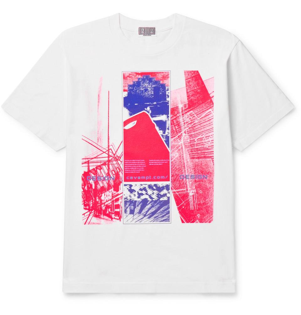 Printed Cotton-jersey T-shirt - White